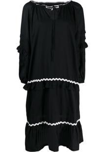 Mcq Alexander Mcqueen Embroidered Wavy Stripe Dress - Preto