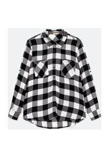 Camisa Em Viscose Estampa Xadrez Com Bolsos Preto