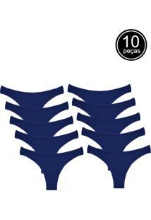 Kit Com 10 Calcinhas Conforto Part.B Fio Dental Azul - Azul Marinho - Feminino - Algodã£O - Dafiti