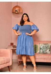 Vestido Almaria Plus Size Izzat Midi Lastex Azul