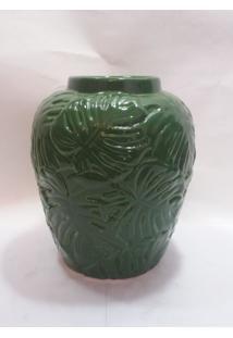 Vaso Ceramica Verde Com Flores Em Relevo
