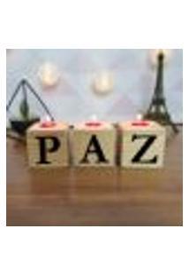 Cubo Decorativo Com Velas E Letras Em Acrílico Paz Único