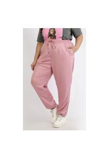 Calça Feminina Plus Size Jogger Cintura Super Alta Com Bolsos Rosa