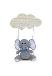 Enfeite Maternidade Balança Elefante Menino Crochê Nome Bebê Potinho De Mel