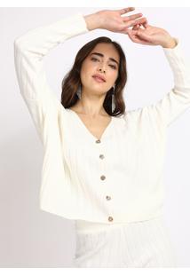 Cardigan Feminino Mindset Em Tricô Cropped Com Botões Decote V Off White