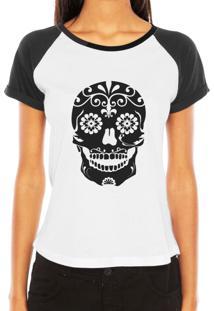 Camiseta Raglan Criativa Urbana Caveira Mexicana Florida Flores No Queixo Tribal Tattoo - Kanui