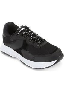 Tênis Burn Chunky Sneaker Feminino - Feminino-Preto+Branco