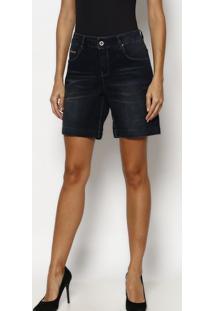 Bermuda Jeans Com Bigodes- Azul Escurotuareg