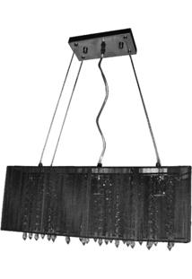 Pendente Rammer 50Cm Retangular E-27 3 Lâmpadas Max 60W Preto