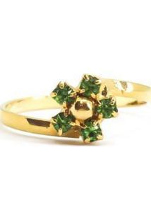 Anel Infantil Florzinha Verde Di Capri Semi Jóias X Ouro Incolor
