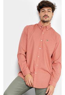 Camisa Xadrez Lacoste Vichy Masculina - Masculino-Salmão