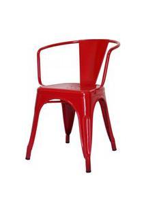 Cadeira Iron Tolix Com Braco Com Pintura Epoxi Vermelha - 48194 Vermelho