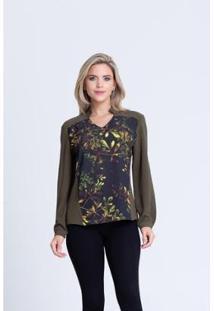Camisa Clara Arruda Bicolor 12047 - Feminino-Verde Militar