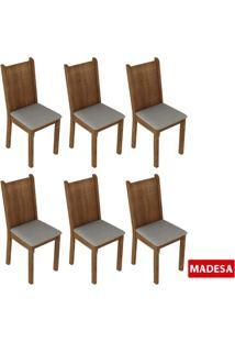 Kit 6 Cadeiras 4290 Madesa Rustic/Pérola