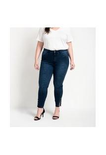 Calça Jeans Skinny Com Tachas Na Barra Curve & Plus Size Azul