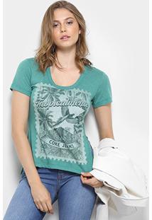 Camiseta Coca-Cola Gola Careca Estampada Feminina - Feminino-Verde