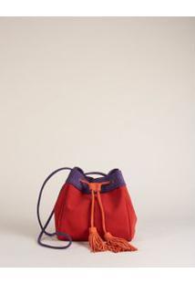 Bolsa Tricolor Camurção - Vermelho U