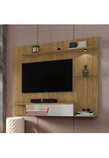 Painel Para Tv Até 55 Polegadas 1 Porta 4 Prateleiras Com Led E Espelho Ubatuba 2075225 Cinamomo - Bechara Móveis