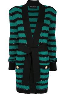 Balmain Cardigan Listrado Com Amarração Na Cintura - Verde