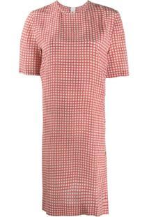 Marni Vestido Reto Xadrez - Vermelho