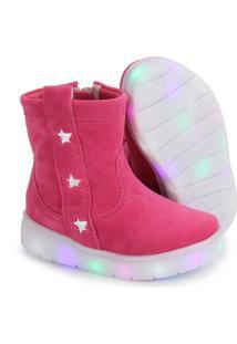 Ankle Boots Infantil Klassipé Com Led - 20 Ao 27- Pink
