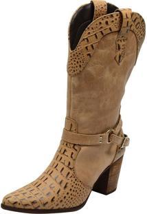 Bota Atron Shoes Texana Couro Bico Fino Estampa Crocodilo Bege - Bege - Feminino - Dafiti
