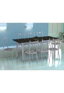 Conjunto De Mesa Cordoba Com 8 Cadeiras Lisboa Branco Prata E Branco Floral
