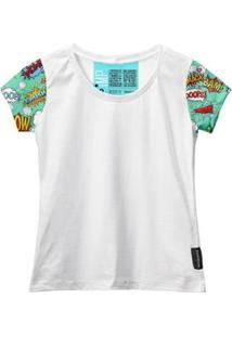 Camiseta Baby Look Feminina Algodão Estampa Gibi Estilo Moda - Feminino-Branco
