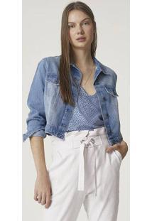 Jaqueta Jeans Tipo Cropped Em Algodão