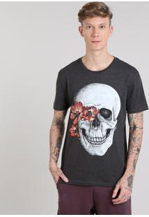 Camiseta Masculina Com Estampa De Caveira Manga Curta Gola Careca Cinza Mescla Escuro