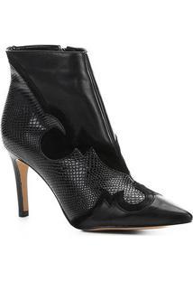 Bota Cano Curto Shoestock Couro Western Feminina - Feminino-Preto