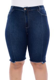 Bermuda Jeans Plus Size Azul Recorte-58 - Azul - Feminino - Dafiti