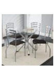Conjunto Mesa Redonda De Vidro E 4 Cadeiras Portugal Kappesberg Cromado/Preto