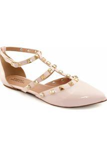 Sandalia Spikes Envernizada Sapato Show 2101 - Feminino-Nude