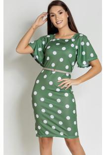 Vestido Poá Verde Manga Ampla Moda Evangélica
