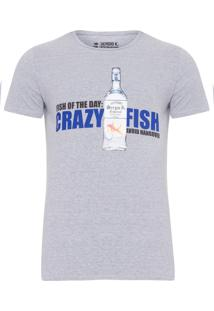 Camiseta Masculina Crazy Fish - Cinza