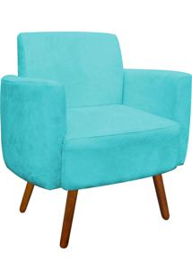 Poltrona D'Rossi Decorativa Agatha Suede Azul Tiffany Braços Curvos
