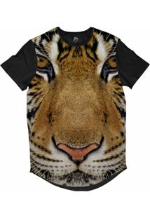 Camiseta Bsc Longline Tigre De Bengala Sublimada Preta