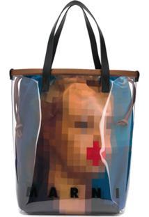 Marni Bolsa Tote Com Estampa Pixel Grace - Marrom