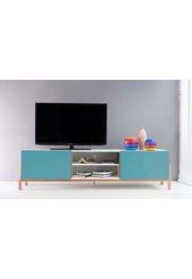 Rack Tv Contemporâneo-Moderno Eric 1800 Mdf Branco Pés Madeira Cor Jatobá 2 Portas Azul - 186X43,6X48,5 Cm