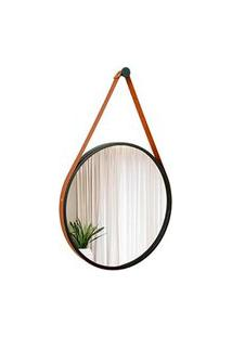 Espelho Decorativo Adnet Preto Com Alça Em Corino Caramelo 40Cm Redondo - E2G Design
