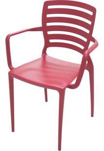 Cadeira Com Braco Sofia Encosto Vazado Horizontal Cor Vermelho -26155 - Sun House