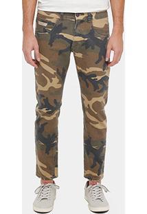 Calça Jeans Cropped Rock & Soda Camuflado Puídos Masculina - Masculino