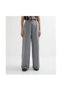 Calça Alfaiataria Pantalona Em Algodão Xadrez Com Bolsos