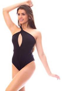 Body Moda Vicio Um Ombro Só Decotado Feminino - Feminino-Preto