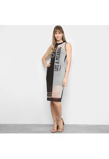 Vestido Acostamento Transparência Bicolor - Feminino-Preto