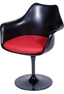 Cadeira Saarinen Tulipa Preta Com Braço Assento Vermelho