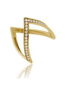 Anel Arial Amarelo Com Diamante Ttlb - 17
