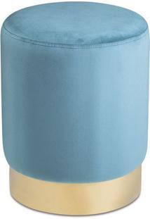 Puff Texturizado Com Base Metã¡Lica- Azul & Dourado- Mart