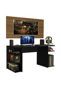 Mesa Gamer Madesa 9409 E Painel Para Tv Até 50 Polegadas Preto/Rustic Cor:Preto/Rustic